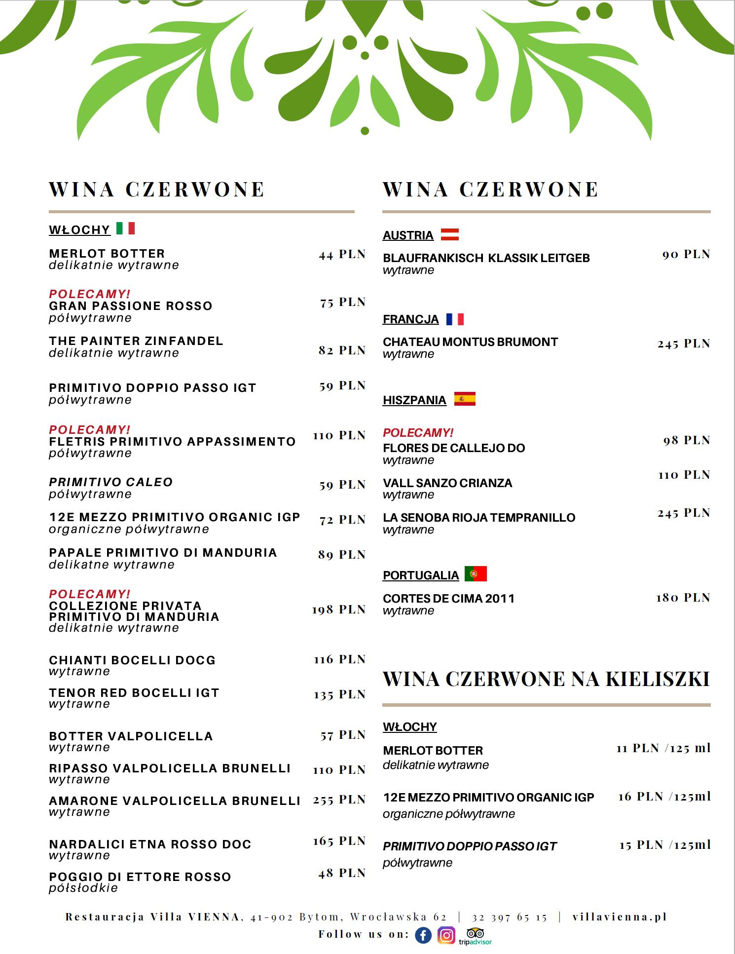 Menu-Villa-Vienna-Karta-Win-Czerwone