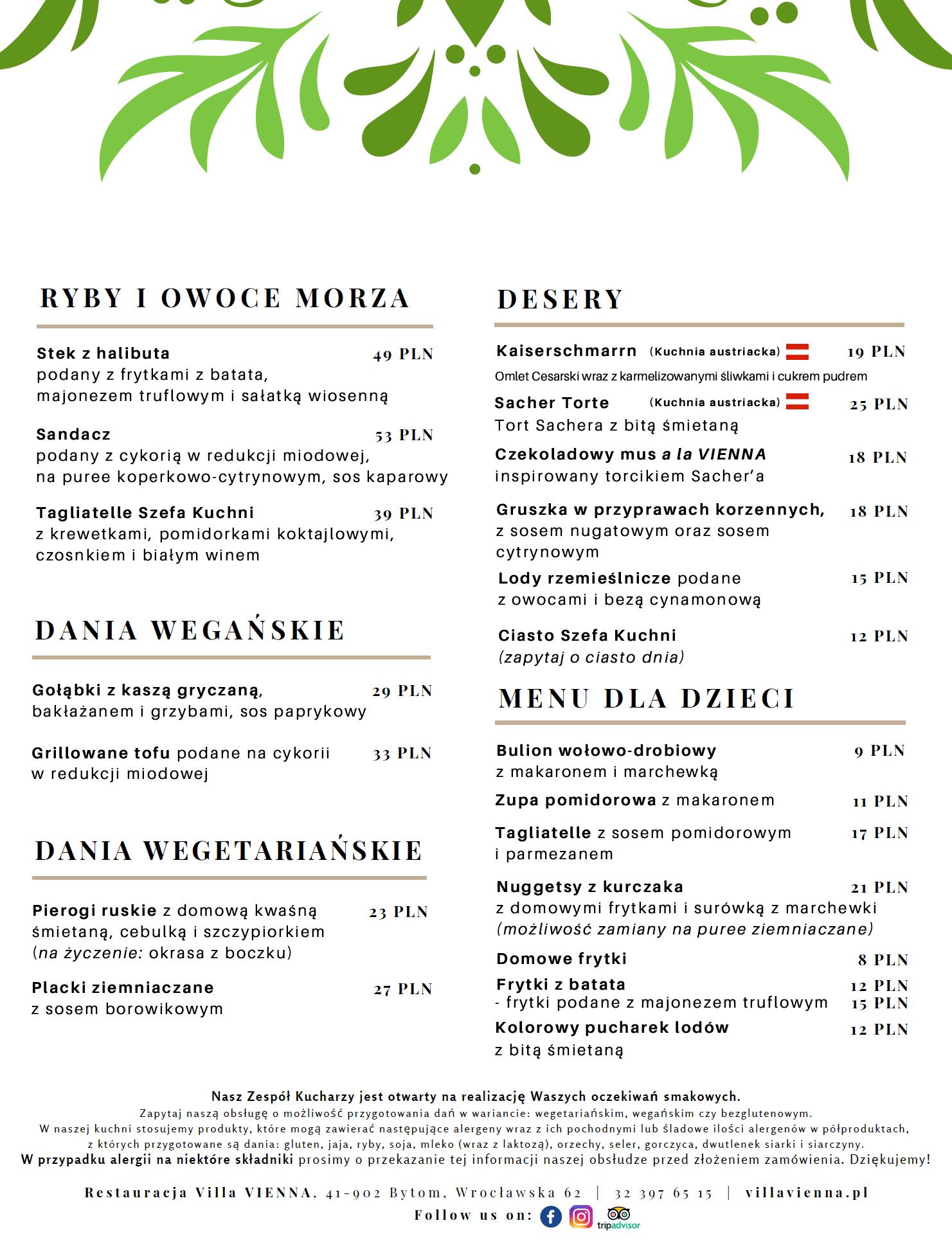 Menu-Villa-Vienna-Ryby-Owoce-Desery-Menu-dla-dzieci
