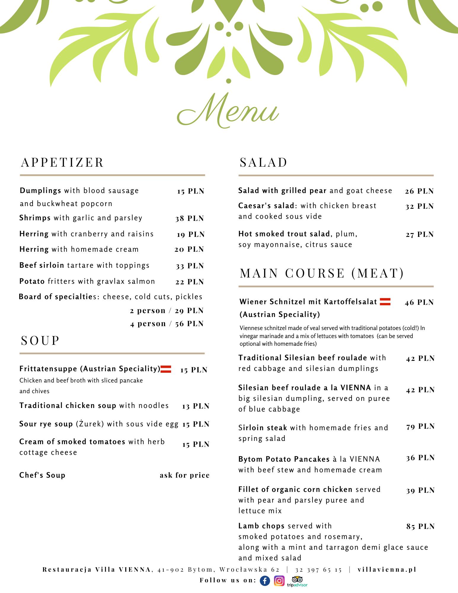 Villa Vienna english menu1